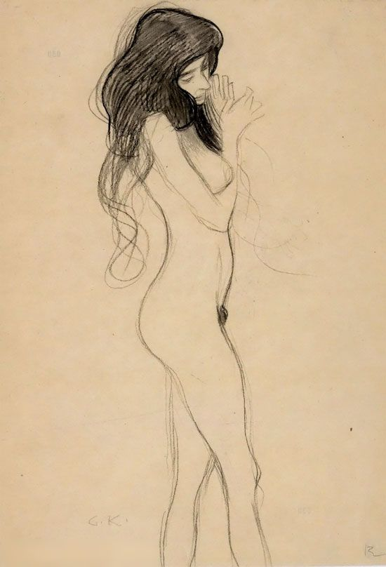 desenho klimt mulher nua